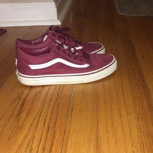 Burgundy Vans sneakers
